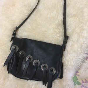 Vintage black leather fringe bag